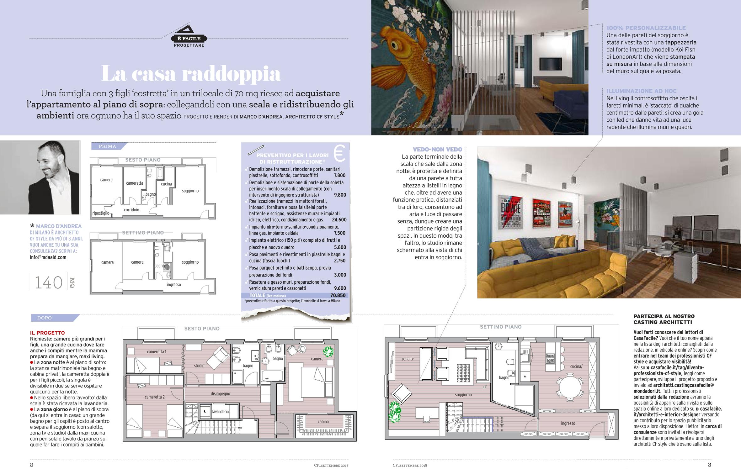 La casa raddoppia : il progetto di ristrutturazione dell'architetto Marco D'Andrea pubblicato su Casa Facile di settembre 2018